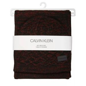 Calvin Klein Men's Marled Texture Scarf and Beanie